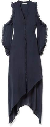 Alice + Olivia Claudie Cold-shoulder Ruffled Silk-blend Chiffon Midi Dress - Midnight blue