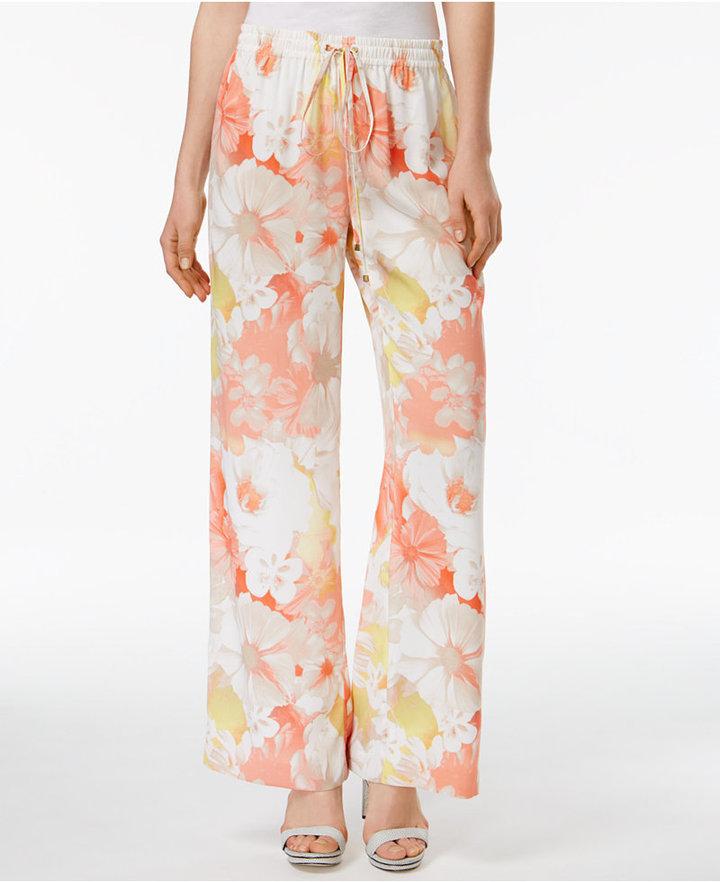 Calvin KleinCalvin Klein Floral-Print Wide-Leg Pants, a Macy's Exclusive Style