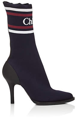 Chloé Women's Tracy Logo Knit Mid-Calf Boots - Navy