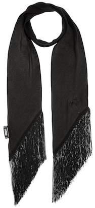 Rockins Plain Classic Skinny Fringe silk scarf