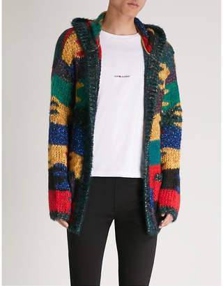 Saint Laurent Camouflage patchwork mohair-blend cardigan