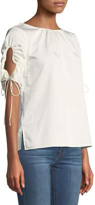 Tahari ASL Thea Drawstring Short-Sleeve Blouse, White