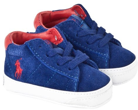 Ralph Lauren Blue Suede Trainers with Elastic Laces