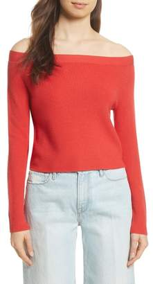 Frame Off the Shoulder Crop Sweater