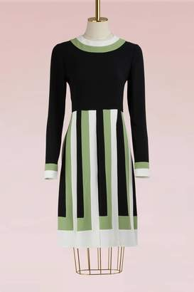 Valentino Colorblock Long-Sleeved Pleated Dress