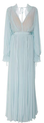 Self-Portrait Self Portrait Pleated Chiffon Maxi Dress