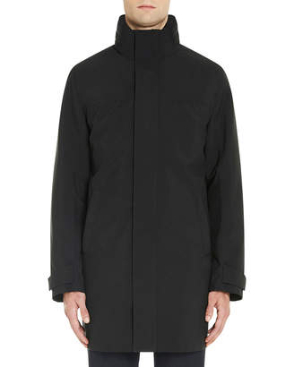 Prada Stand-Collar Rain Coat w/Removable Hood