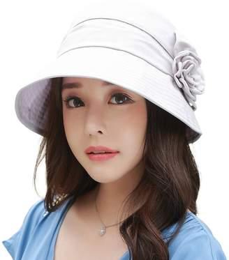 Siggi UV50+ Linen/Cotton Summer Sunhat for Women Bucket Crushable Wide Brim Hats w/Chin Strap Gray