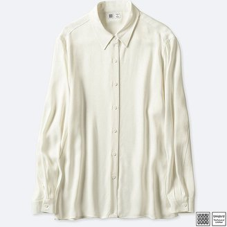 Uniqlo Women's U Satin Long-sleeve Blouse