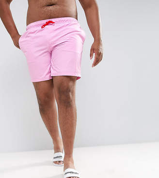 Asos DESIGN PLUS Swim Shorts In Pink With Red Contrast Drawcords Mid Length
