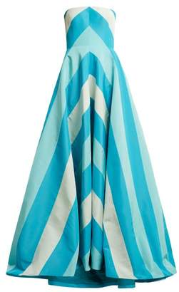 Carolina Herrera Chevron Silk Faille Gown - Womens - Blue Multi
