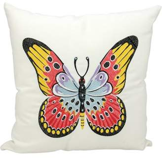 "Nourison Indoor/Outdoor Red Butterfly Pillow, White, 18"" x 18"""
