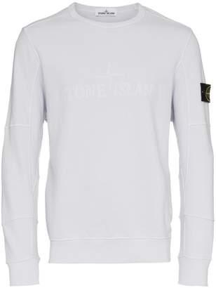 Stone Island Grey Crew Neck Logo Patch Cotton Sweatshirt