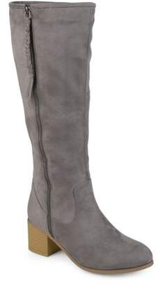 Co Brinley Womens Wide Calf Faux Suede Mid-calf Stacked Wood Heel Boots