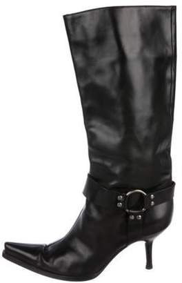 Sergio Rossi Leather Point-Toe Mid- Calf Boots Black Leather Point-Toe Mid- Calf Boots