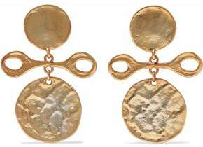 Kenneth Jay Lane Hammered Gold-Tone Clip Earrings