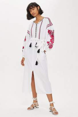 Topshop Pink Embroidery Tunic