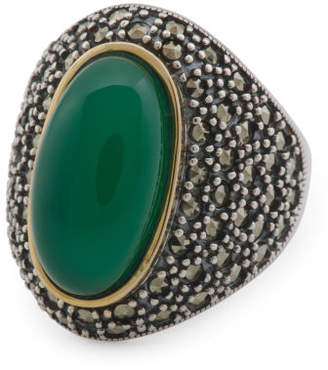 14k Gold And Sterling Silver Cabochon Agate Marcasite Ring