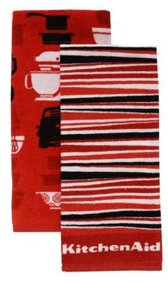 KitchenAid Appliances & Stripe Kitchen Towels, Set of 2, Red