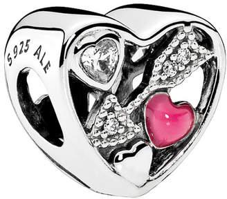 Pandora Silver Cz Magenta Struck By Love Charm