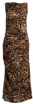 Raey Gathered Side Backless Silk Tiger Print Dress - Womens - Brown Multi