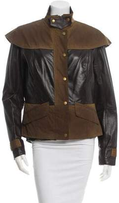 Barbour Leather-Trimmed Jacket w/ Tags $325 thestylecure.com