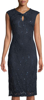 Neiman Marcus Knotted-Neckline Sequin-Lace Sheath Dress