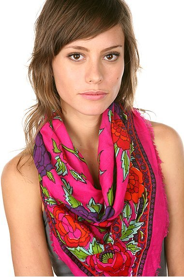Patterned Rose Square Scarf