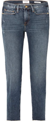 Frame Le Nouveau Distressed High-rise Straight-leg Jeans - Dark denim