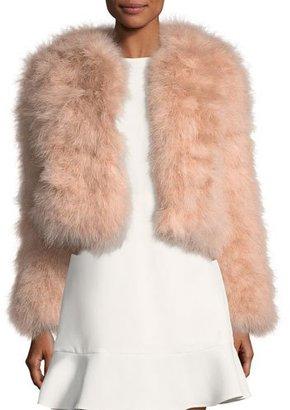 Rebecca Minkoff Pacha Long-Sleeve Short Feathered Jacket