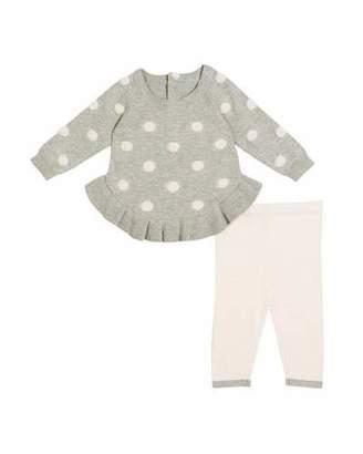 Miniclasix Ruffle-Hem Polka-Dot Sweater w/ Matching Leggings, Size 3-9 Months
