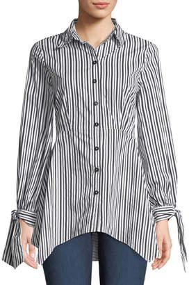 Neiman Marcus Striped Flare-Hem Tunic Blouse