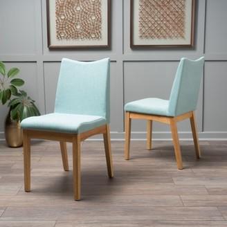 Noble House Roosevelt Mint Fabric Oak Finish Dining Chairs (Set of 2)