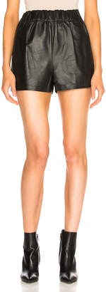 Tibi Tissue Leather Pull On Shorts