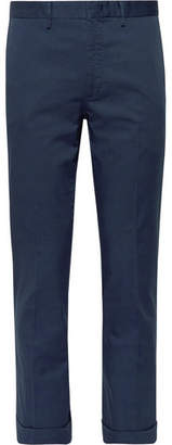 Incotex Cropped Slim-fit Stretch-cotton Gabardine Trousers - Navy