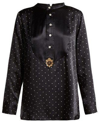 Figue Milagro Polka Dot Print Silk Satin Shirt - Womens - Black
