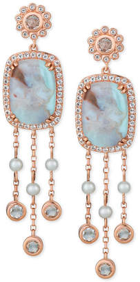 LeVian Le Vian Turquoise Aquaprase (14 x 10mm), White Topaz (1-1/2 ct. t.w.) & Cultured Freshwater Pearl (3mm) Drop Earrings in 14k Rose Gold