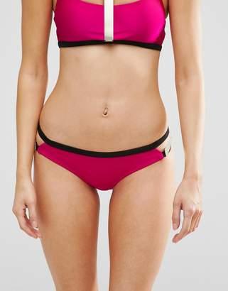 Asos DESIGN Metallic Gold Bar Trim Embellished Bikini Bottom