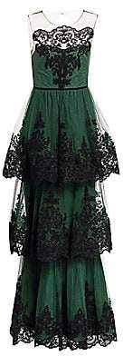 Marchesa Women's Embroidered Tiered Lace Gown