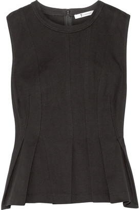 T by Alexander Wang - Pleated Cotton-jersey Peplum Top - Black $225 thestylecure.com