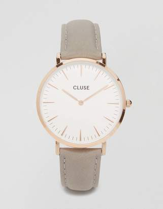 Cluse CL18015 La Boheme rose gold and gray leather watch
