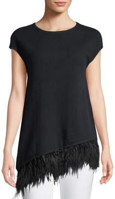 Neiman Marcus Ostrich-Feather Hem Cashmere Tunic