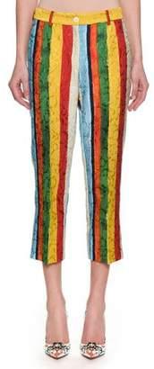 Dolce & Gabbana Rainbow Stripe Jacquard Cropped Pants