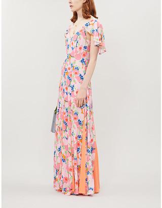 STAUD Fluted-sleeve split-hem abstract-print crepe maxi dress