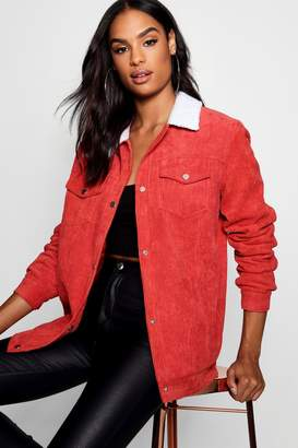 boohoo Tall Borg Collar Cord Jacket