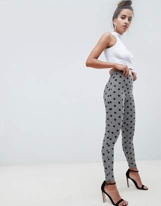 Asos DESIGN leggings in houndstooth check with polka dot