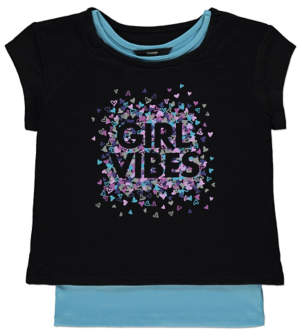George Girls Vibes Slogan Double Layer T-Shirt
