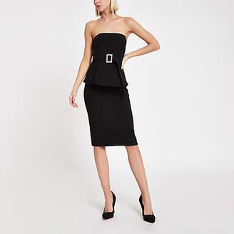 River Island Black bandeau diamante buckle mini dress