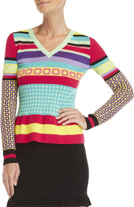 Moschino Geo Print Lurex V-Neck Sweater