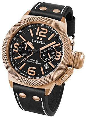 TW Steel Canteen Unisex Quartz Watch with Black Dial Chronograph Display and Black Leather Strap CS73
